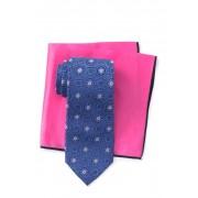 Ted Baker London Silk Tonal Medallion Tie Pocket Square Set NAVY