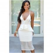 vestido sin mangas de escote V estilo americano de color blanco