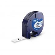 Dymo Ruban d'étiquettes en plastique Dymo LT (91201) 12mm x 4m Noir sur Blanc pour étiqueteuse