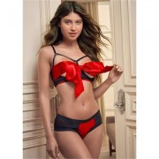 Unwrapped BOW Front BRA Sexy Lingerie - Black/red