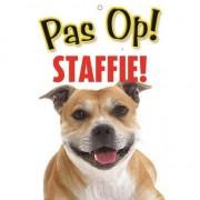 Merkloos Honden waakbord pas op Staffordshire Bullterrier 21 x 15 cm