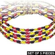 Divat karkötő fonott szálakból - fekete-piros-sárga