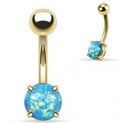 Goudkleurige Opal Prong Setting Aqua Navelpiercing