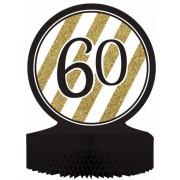 Centro de mesa 60 años negro y dorado Única