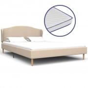 vidaXL Легло с матрак от мемори пяна, бежово, плат, 140x200 см