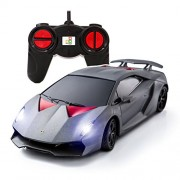Playtech Logic Ptl Lamborghini Sesto Elemento Remote Control Cars with Working Lights, Pl619 1: 24 Licensed Electric Radio Controlled Rc for Kids Top Popular Best Boys Girls Car Toys, Silver 40Mhz