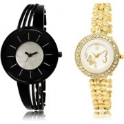 The Shopoholic Black Silver White Combo Fashionable Fancy Collection Black And Silver And White Dial Analog Watch For Girls Womens Fashion Watch