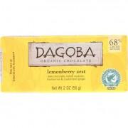 Dagoba Organic Chocolate Chocolate Bar - Organic - Dark - 68 Percent Cacao - Lemonberry Zest - 2 oz
