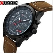 HK Curren Round Dial Brown Leather Strap Men Quartz Watch for Men