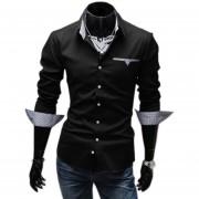 Camisa Para Hombre Casual Con Contraste Cuello Band Y Pocket (Negro)
