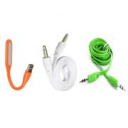 (Tricolor combo No 14) 1 pc LED Light 2pc Aux Cable by KSJ Accessories