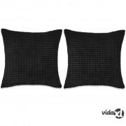 vidaXL Set Jastuka 2 kom od Velura 45x45 cm Crni