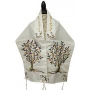 Majestic Giftware talit algodón/Bolsa de con Bordado de Seda de poliéster y kipá Multicolor árbol de la Vida, 40.6x 177.8cm