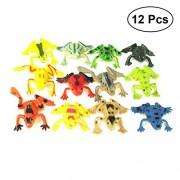 STOBOK 12pcs Plastic Mini Frogs Toy Simulation Tropical Frog Figure Model Preschool Kids Educational Toys