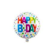 Merkloos Folie ballon Gefeliciteerd/Happy Birthday gekleurde stippen 45 cm met helium gevuld