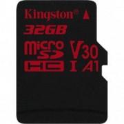 Card de memorie Kingston MicroSDHC Canvas React 32GB Class 10 100R UHS-I U3 V30 + Adaptor