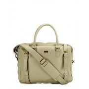 Yelloe Big Size Beige Synthetic Leather Multi Compartment Laptop Bag.