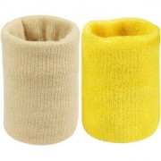 Neska Moda Unisex Beige And Yellow Pack Of 2 Cotton Wrist Band