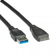 Кабел Roline от USB micro B(10-pin)(м) към USB A(м), 2m, черен