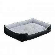 [en.casa]® Pelíšek - pro kočičky a pejsky - s oboustranným polštářem - oxford látka / PP-bavlna - 90 x 70 x 20 cm [XL] - černý / šedý