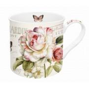 Taza mug decorado con flores
