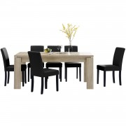 PremiumXL - [en.casa] Blagovaonski stol - rustični hrast - 170x79 cm - sa 6 tapeciranih stolica - crne -