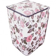 Glassiano Floral And Leafy Multi Coloured Waterproof & Dustproof Washing Machine Cover For LG T7567TEELH Fully Automatic Top Load 6.5 Kg Model