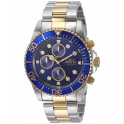Invicta Watches Invicta Men's 1773 Pro Diver 18k Gold Ion-Plating and Stainless Steel Watch BlueSilver