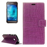 Samsung Galaxy Xcover 4 Case, G390F Case, Crocodile Texture Horizontal Flip Leather Case with Holder & Card Slots & Wallet (Purple)
