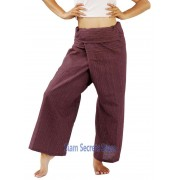 Thai Fisherman Pants Wrap Trousers Pinstripe Cotton Brick Red