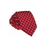 Pánská červená slim kravata s bílými kostičkami - 6 cm