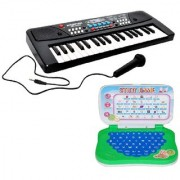 Combo of 37 Key Piano Keyboard Toy with DC Power Option Recording and Mic With learning English Mini Laptop for kids