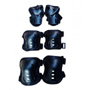 Squeevi Black : Set of 6 Toddlers Children Sports Knee Pads Elbow Pads Wrister Bracers Durable Protection Gear Safeguard Safety Pads Equipment for Unisex Kids Skating Ice Skate Skateboard Cycling Roller Extreme Sports Protector Guards