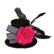 Merkloos Feest mini hoog hoedje met haarklemmetje 14 cm voor dames