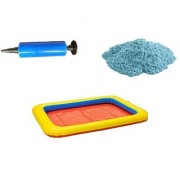 UNTOLD 500GR MAGIC SAND WITH 3 PIECE TOY MOLDS AND INFLATABLE TRAY + PUMP - BLUE COLOR