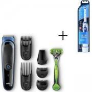 Комплект Тример за лице и коса Braun MGK3040, 7 в 1 + Самобръсначка Gillette + Електрическа четка за зъби Oral-B Pro-Expert