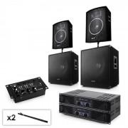 "Electronic-Star Sistema PA Set 2.2 con 2x Amplificador, 2x 15 ""subwoofer 2x 10"" altavoces, mezcladores y cables (PL-1520-102-1715)"