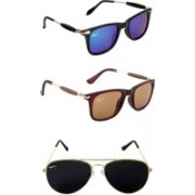Rich Club Cat-eye, Aviator Sunglasses(Brown, Blue, Black)