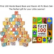 First 100 Words Book and Building Block Set for Toddlers- 40 PC Wooden Alphabet Block Set and First Words Toddler Book - Perfect Gift Set for Toddlers 1, 2, or 3 year olds!