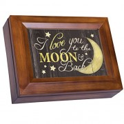 Love You to the Moon and Back Woodgrain Digital Keepsake Music Box Plays Lean On Me