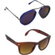 Hrinkar Clubmaster Sunglasses(Blue, Brown)