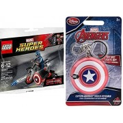 Super-Heroes Lego Super Heroes: Civil War Captain America Motorcycle Mini Figure Marvel 3044 & Light-Up Shield Keychain Fun Hero Bundle