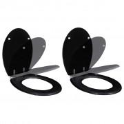 vidaXL Тоалетни седалки с плавно затваряне, 2 бр, МДФ, черни