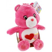 Just Play Care Bears Love-A-Lot Bear Soft Medium Plush Pink with Red and Pink Hearts