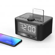 M7 Bluetooth Speaker Digital Alarm Clock with Dual Port USB LED Display - Black / EU Plug