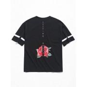 Zaful T-shirt à épaules dénudées à fleurs imprimées Noir S