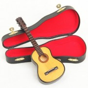 112 Mini Wooden Miniature Musical Acoustic Guitar With Case Highly Detailed Collections for Doll House