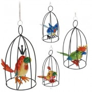 Decoratie hanger vogel in kooi
