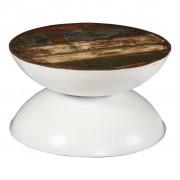 vidaXL Coffee Table Solid Reclaimed Wood White Base 60x60x33 cm