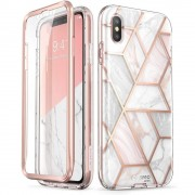 Carcasa stylish Supcase Cosmo iPhone X/Xs cu protectie display, Marble